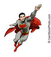 superhero, volare, in, azione