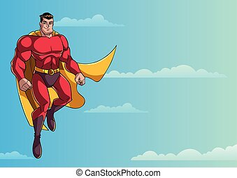 superhero, volare, in, cielo