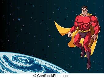 superhero, volare, in, spazio