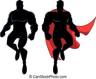 superhero, volare, silhouette