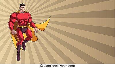 superhero, volare, su, raggio, luce, fondo