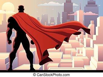 Superhero Watch 2 - Superhero watching over city. No...