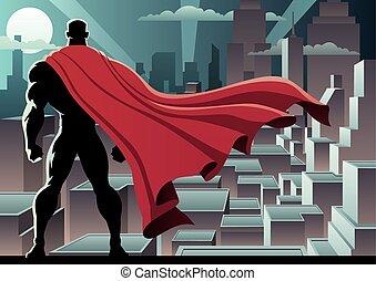 Superhero Watch 3 - Superhero watching over city. No...