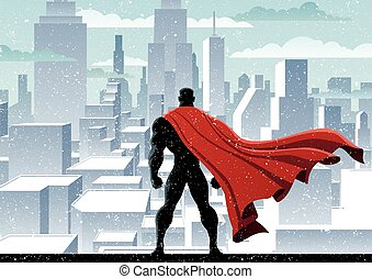 Superhero Watch - Superhero watching over city. No...