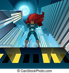 Superhero watching over city - Superhero standing on the...