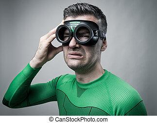 Superhero with bad headache