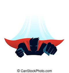 Superhero with cape flying