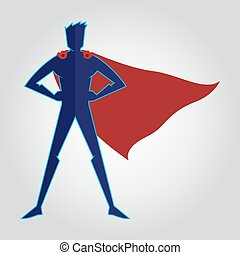 Superhero with cape character figure, vector illustration