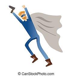Superhero with gun. Vector illustration, isolated on white.