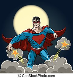 Superhero with Red Cape - Superhero standing with cape ...