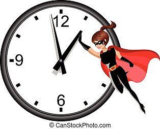 Superhero woman flying and stopping time isolated