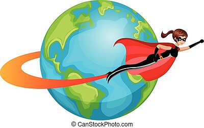 Superhero woman flying around world isolated