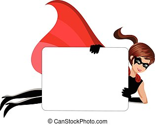 Superhero woman flying blank banner isolated