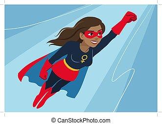 Superhero woman in flight. Attractive young African American...