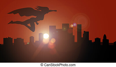 Superhero woman silhouette side view flying over city at sunset or sunrise overwatching for security and defense the city from crime