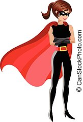 Superhero woman standing crossed arms isolated