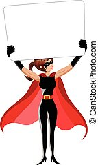 Superhero woman standing holding blank banner isolated