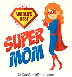 Superhero Woman Supermom Cartoon character Vector...