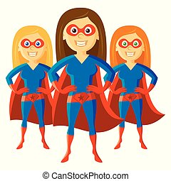 Superhero Woman Supermom Set Cartoon character Vector