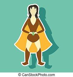 Superhero woman.Female cartoon character . Icon in sticker style