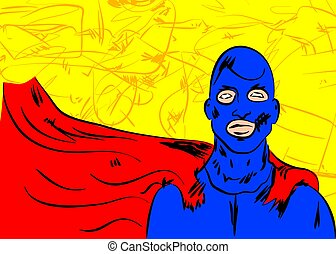 Superhero, young men wearing a blue mask and red cape - ...