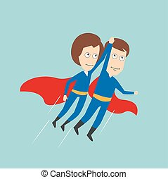Superheroes business woman and businessman flying