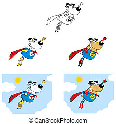 Superheroes dogs flying in sky