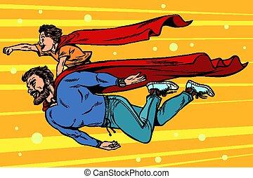 superheroes., hijo, papá, niñez, paternidad