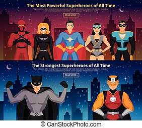 Superheroes Horizontal Banners