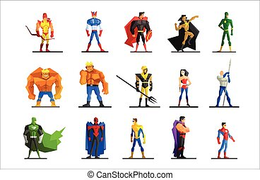Superheroes in Different Poses and Costumes Vector Set -...
