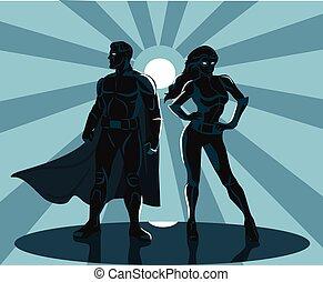 superheroes, silhouette, vettore