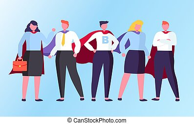 Superheroes Standing in Cloak Together Vector - Man and ...