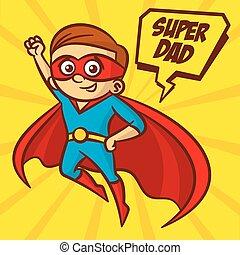 Superheroes Super Dad Vector Illustration