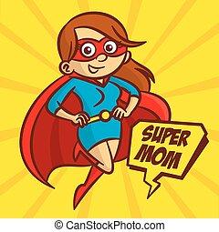 Superheroes Super Mom Family Vector Illustration