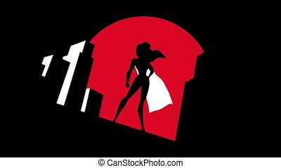 Superheroine Background Symbol Animation