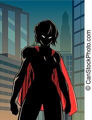 Superheroine Battle Mode City Vertical Silhouette