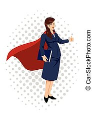 Superheroine Businesswoman Cartoon