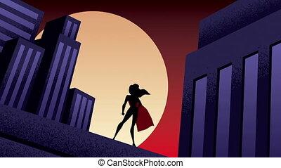 Superheroine City Night Animation