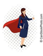 superheroine, donna d'affari, cartone animato