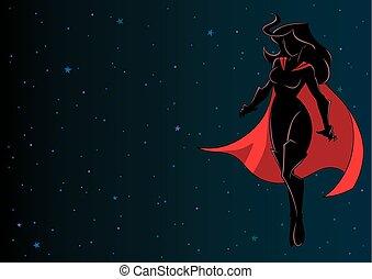 Superheroine Flying in Space Silhouette