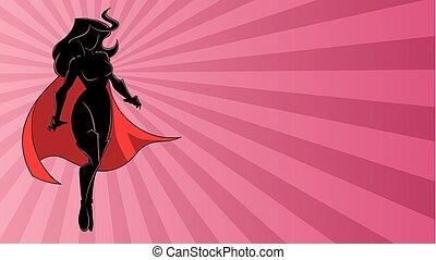 Superheroine Flying Ray Light Silhouette