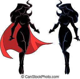 Superheroine Flying Silhouette