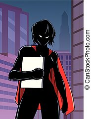 Superheroine Holding Book in City Vertical Silhouette