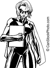 Superheroine Holding Book Line Art