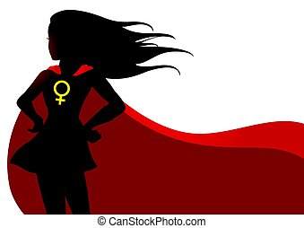 Superheroine in red cape with female symbol - Illustration...