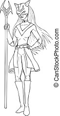 Superheroine - Outline illustration of a super-heroine
