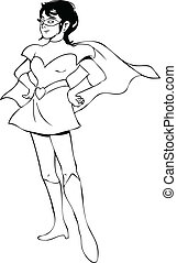 Outline illustration of a woman figure in superhero suit