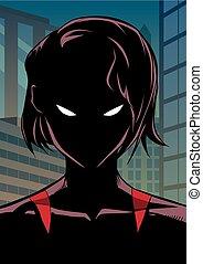 Superheroine Portrait in City - Silhouette illustration of ...