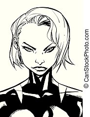 Superheroine Portrait Line Art