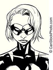 Superheroine Portrait Masked Line Art